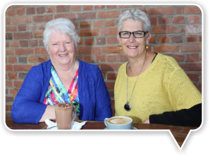 Margaret Leigh (left) and Barbara Joyce (right) share warm memories of their caregiving experiences with PSSC.